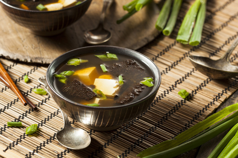 Miso soup, just one of the many vegetarian options